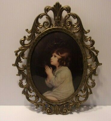 """Large Vtg Ornate Metal  Italy Oval Picture Frame w/ Convex Glass """"Child Praying"""""""