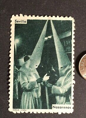 "Cinderella SPANISH CATHOLIC Stamp""NAZARENOS-SEMANA SANTA""HOLY WEEK BEFORE EASTER"