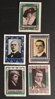 Cinderella Poster Stamps SILENT MOVIE STARS 5pc VINTAGE