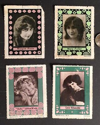 Cinderella Poster Stamps SILENT MOVIE STARS 4pc VINTAGE