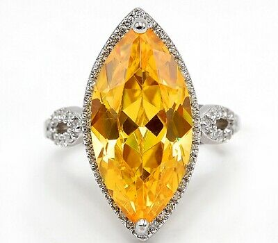 Huge- Top Quality 10CT Golden Citrine 925 Sterling Silver Ring Jewelry Sz 6