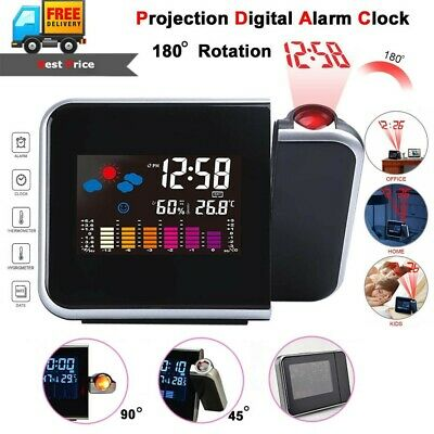 Projection Digital Weather LCD Snooze Alarm Clock Color Display w LED Backlight
