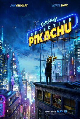 POKEMON DETECTIVE PIKACHU great original D/S 27x40 movie poster