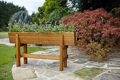 Large Raised Deep Wooden Trough Planter - Veg Herb Flower Plant High Container