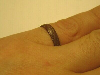 Authentic medieval Viking bronze age decorated ring-wearable