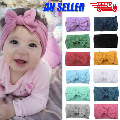 Baby Girl Infant Toddler Bow Hairband Headband Turban Big Knot Head Wrap Soft