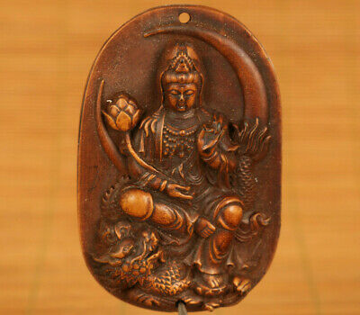 Asian old boxwood hand carved Kwan-yin dragon statue collectable necklace gift