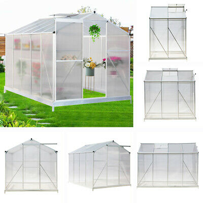 10x 6, 8x6, 6x6, 4x6ft Garden Growhouse Greenhouse Aluminium Polycarbonate Base