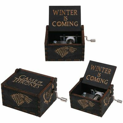 GAME OF THRONES -  Retro BLACK Wooden Hand Crank Engraved Music Box Toys Gift