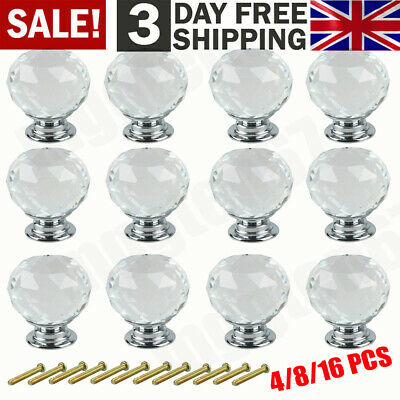 16x Clear Crystal Diamond Glass Knobs Cupboard Drawer Furniture Handle Cabinet
