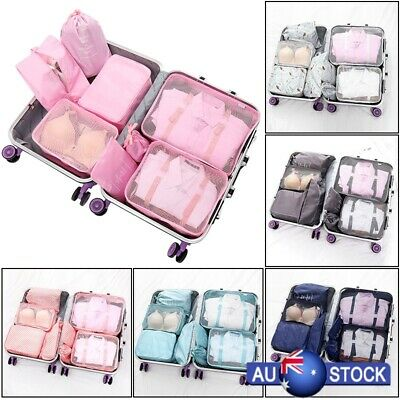 New 8Pcs Waterproof Compression Packing Cubes Large Travel Luggage Organizer