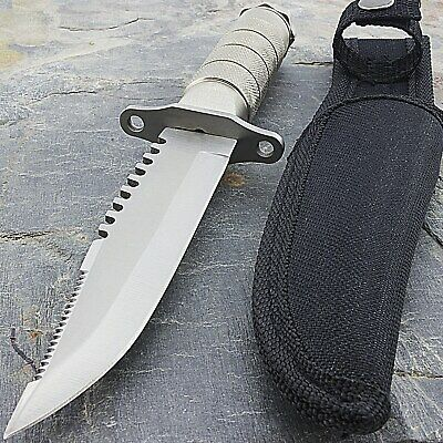 "8.5"" TACTICAL STAINLESS STEEL SURVIVAL MILITARY KNIFE Hunting Bowie Fixed Blade"