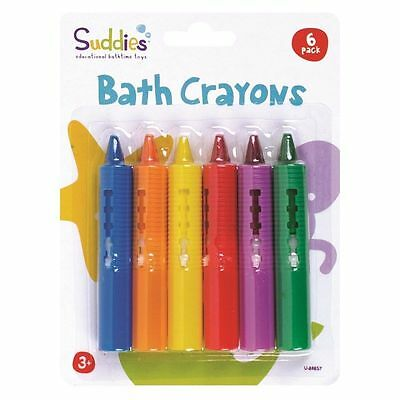 6 Pcs Pack Children's Toddler Bathtime Crayons Non Toxic Kids Bathtime Fun - New