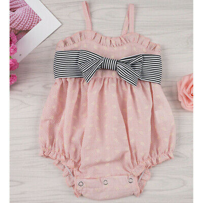 Summer Toddler Newborn Kid Baby Girl Bow Princess Sling Romper Jumpsuit Outfits