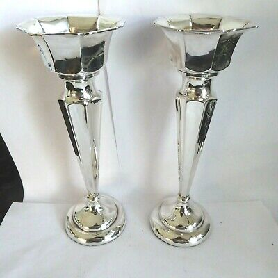 Antique Smart Pair Silver Trumpet Shape Vases Hm Chester 1911 -  8.25  Inch Tall