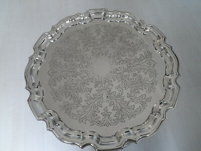 Vintage Chased Silver Plate Round Tray Salver Waiter 14.25 Inches Dia - Cavalier