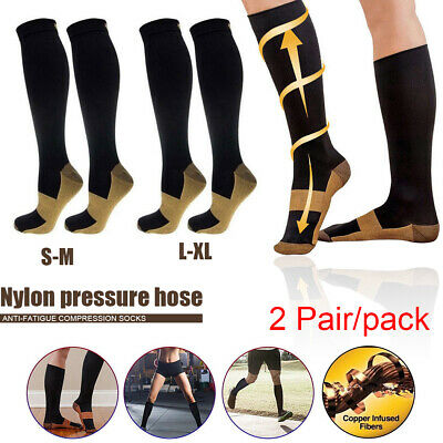 2 Pairs Miracle Copper Compression Socks Anti Fatigue Universal Black