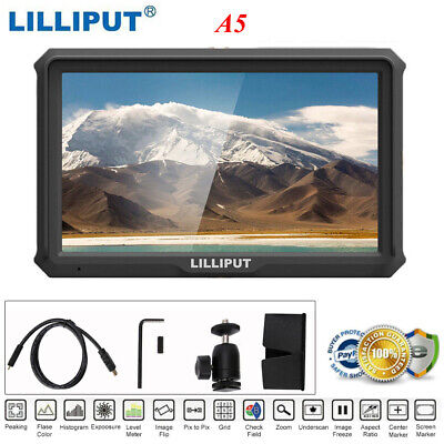 "Lilliput A5 5"" 1920x1080 8bit 4K HDMI DSLR Camera field monitor F970/LP-E6 Plate"