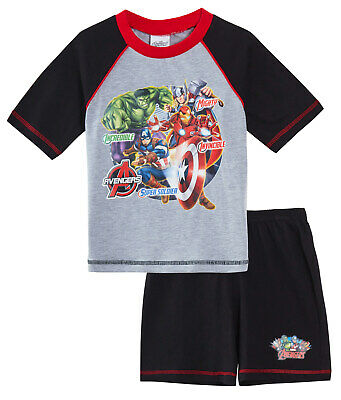 Avengers Boys Short Pyjamas Kids Marvel 2 Piece Shortie Pjs Set Grey / Black