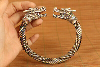 rare chinese old tibet silver hand carved dragon jewel bracelet