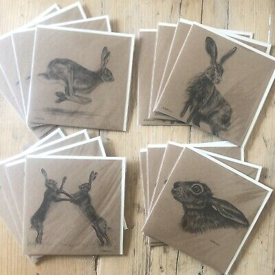 Job Lot Stock Clearance 16 Hare Greetings Cards-4 Designs High Quality Wholesale