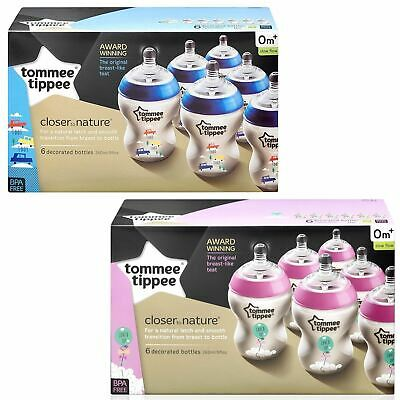 Tommee Tippee Closer Nature Baby 6x Feeding Bottle 260ml Decorated Pink / Blue