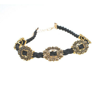 Noble Jewel Vintage Style Choker Necklace With Gold Medallions