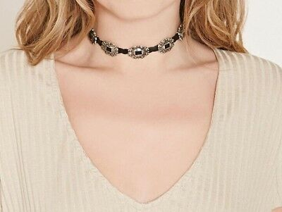 Noble Jewel Vintage Style Choker Necklace With Silver Medallions