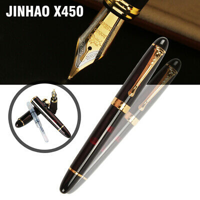 Jinhao X450 With Fireworks Fountain Pen 0.7mm Broad Nib 18KGP Golden Trim Black