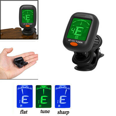 Digital Chromatic LCD Clip-On Electric Tuner For Bass Guitar Ukulele Violin BLK