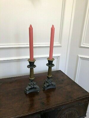 Antique Pair Bronze French Empire (1804-1815) Candlesticks Candle Holders 9""