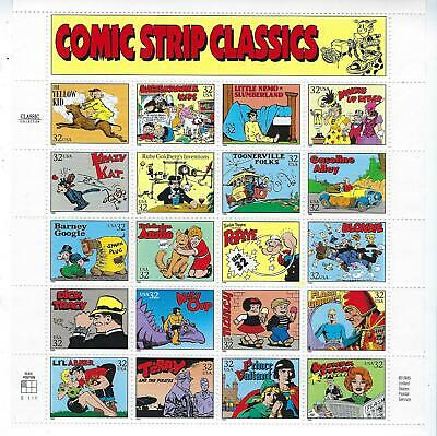 """Us #3000 """"Comic Strip Classics""""  Pane Of 20 32 Cent Stamps Mint Never Hinged"""
