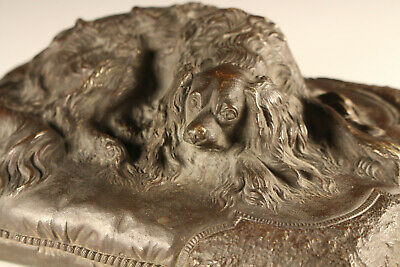 Prosper LECOURTIER (1851-1924) A King Charles Spaniel lying on a Cushion Bronze