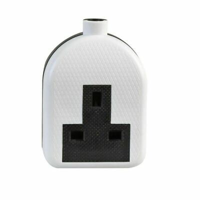Hard Rubber 1 Gang White Trailing Extension Socket 13A Single Impact Resistant