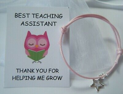 Best Teaching Assistant Thank You Gift School Leaving Gift Card Bracelet