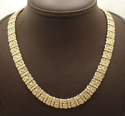 """18"""" All Shiny Bar Stationed Byzantine Chain Necklace Real 14K Yellow Gold HSN"""