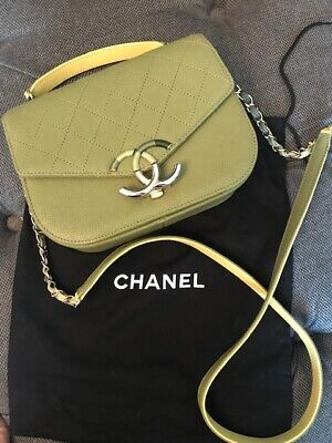 56c288e5489a AUTHENTIC Chanel Top Handle Grained Calfskin Flap bag, Green, Cruise 2018  $3500