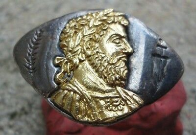 Ancient Roman Silver Legionary Ring With Marcus Aurelius Insert Circa 140-200Ad