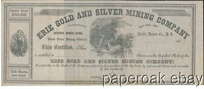 1860's Stock Erie Gold & Silver Mining Co. Reese River  Nevada Territory