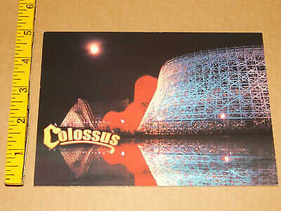 LG POSTCARD Six Flags Magic Mountain COLOSSUS night reflect coaster unused xlnt