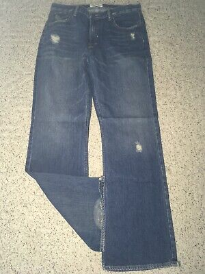 Mens Boys AMERICAN EAGLE Bootcut Distressed Denim Blue Jeans~Size 34 x 34~EUC