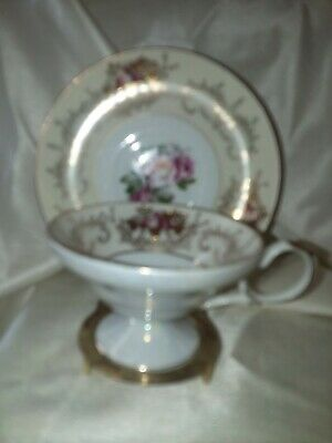 Vintage Del Mar Hand Painted 24 K Gold Teacup & Saucer
