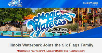 SIX FLAGS Magic Waters Child Youth Ticket Cherry Valley/Rockford, IL