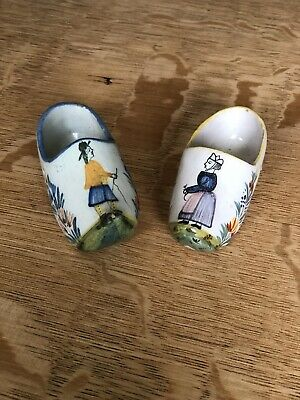 Antique Quimper Pair of Shoes, Signed Henriot Quimper, France, Vintage French