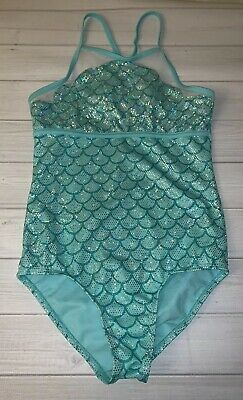 5071701d4cf Justice Girls Trendy Green Shimmery Mermaid Scales Swimsuit Size 12