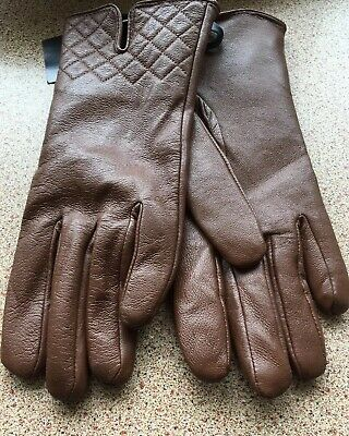 Vintage Brown Leather Fully  Lined Driving Gloves Unworn