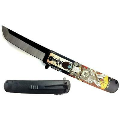 """KS 61261-4 3 3/4"""" Spring Assisted Knife with Traditional Black and Yellow Japane"""