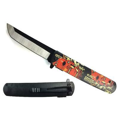 """KS 61261-1 3 3/4"""" Tanto Assisted Knife Design ABS Handle with Red Japanese Oni D"""