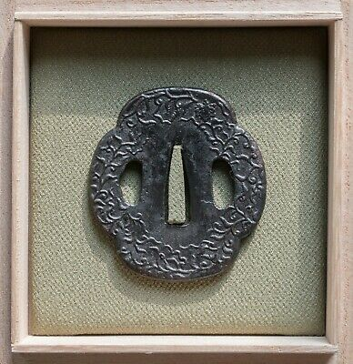 Japanese sword guard tsuba for a tanto