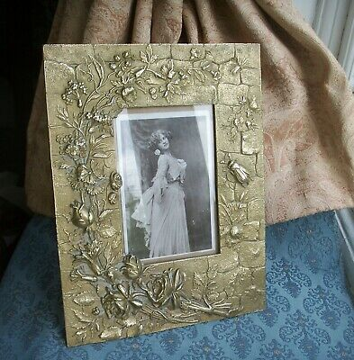 Old Antique French Ormolu Brass Victorian Photo Frame Flowers Bug  c.1880 Foto